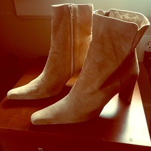 Gold suede ankle boots sz 9 Nine West